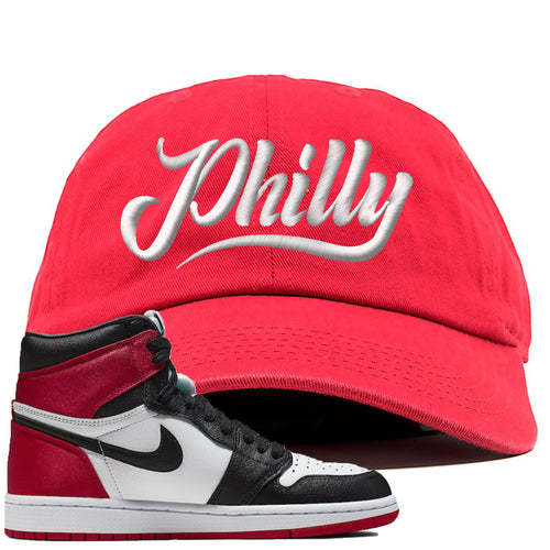 Air Jordan 1 WMNS Satin Black Toe Sneaker Match Philly Red Dad Hat
