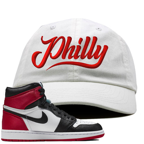 Air Jordan 1 WMNS Satin Black Toe Sneaker Match Philly white Dad Hat