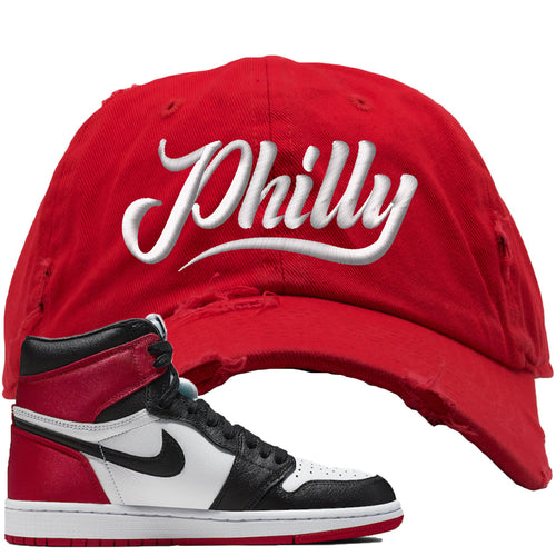 Air Jordan 1 WMNS Satin Black Toe Sneaker Match Philly Red Distressed Dad Hat
