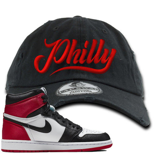 Air Jordan 1 WMNS Satin Black Toe Sneaker Match Philly Black Distressed Dad Hat
