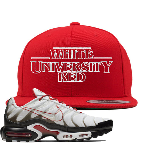 Nike Air Max Plus White University Red Sneaker Match Stranger Things Red Snapback