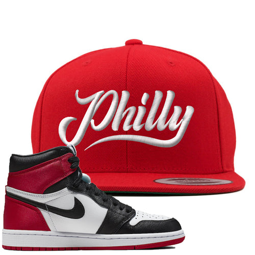 Air Jordan 1 WMNS Satin Black Toe Sneaker Match Philly Red Snapback