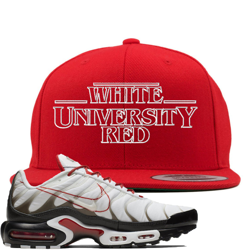 Nike Air Max Plus White University Red Sneaker Hook Up Stranger Things Red Snapback