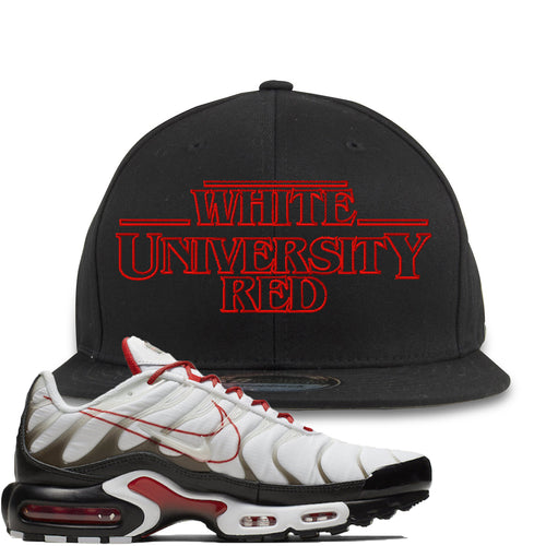 Nike Air Max Plus White University Red Sneaker Match Stranger Things Black Snapback
