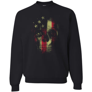 Standard Issue Distressed Reaper Skull American Flag Black Grunt Life Crewneck Sweater
