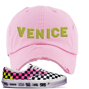 Vans Era Venice Beach Pack Distressed Dad Hat | Pink, Venice Sign