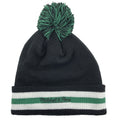 on the back of the boston celtics black, white, and green pom beanie is the mitchell and ness logo embroidered in black