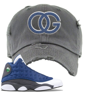 Jordan 13 Flint 2020 Sneaker Dark Gray Distressed Dad Hat | Hat to match Nike Air Jordan 13 Flint 2020 Shoes | OG