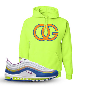 Air Max 97 'Easter' Sneaker Safety Green Pullover Hoodie | Hoodie to match Nike Air Max 97 'Easter' Shoes | OG