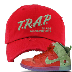 SB Dunk High 'Strawberry Cough' Distressed Dad Hat | Red, Trap To Rise Above Poverty