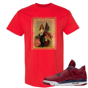 Jordan 4 FIBA Lady Liberty Shield Red Sneaker Matching Tee Shirt