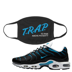 Air Max Plus Black and Laser Blue Face Mask | Trap To Rise Above Poverty, Black