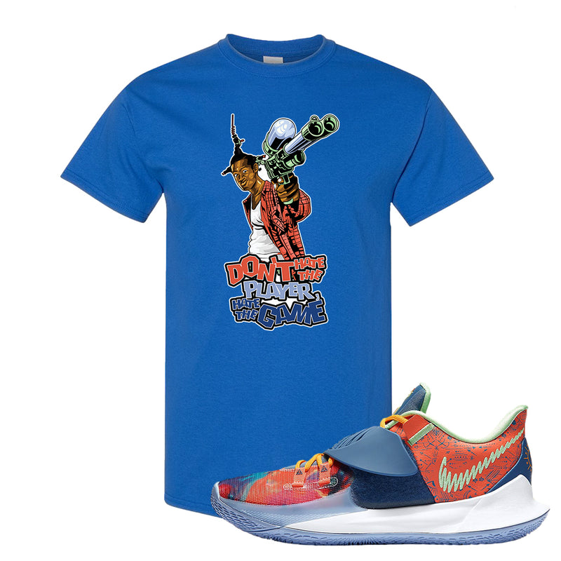 Kyrie Low 3 Ancient Symbols T Shirt | Don't Hate The Playa, Royal Blue