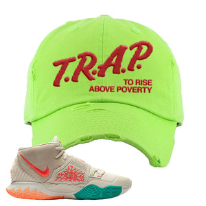 Kyrie 6 N7 Distressed Dad Hat | Neon Green, Trap To Rise Above Poverty