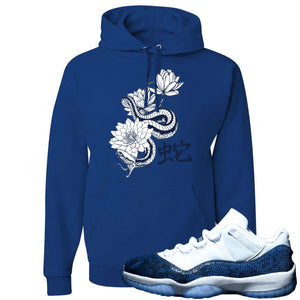 Jordan 11 Low Blue Snakeskin Snake With Lotus Flowers Royal Blue Hoodie