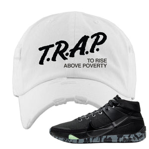 Nike KD 13 Black And Dark Grey Distressed Dad Hat | Trap To Rise Above Poverty, White