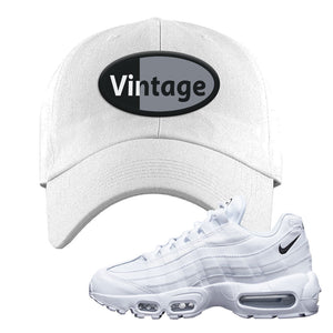Air Max 95 White Black Dad Hat | White, Vintage Oval