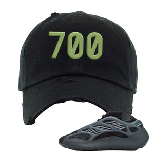 Yeezy Boost 700 V3 Alvah Sneaker Black Distressed Dad Hat | Hat match Adidas Yeezy Boost 700 V3 Alvah Shoes | 700 Logo