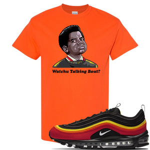Air Max 97 Black/Chile Red/Magma Orange/White Sneaker Orange T Shirt | Tees to match Nike Air Max 97 Black/Chile Red/Magma Orange/White Shoes | Watchu Talkin Bout