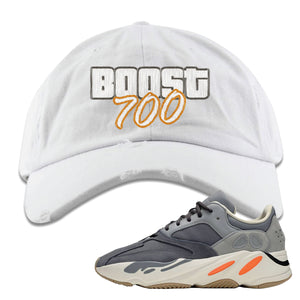 Yeezy Boost 700 Magnet GTA Cover Lettering White Distressed Dad Hat