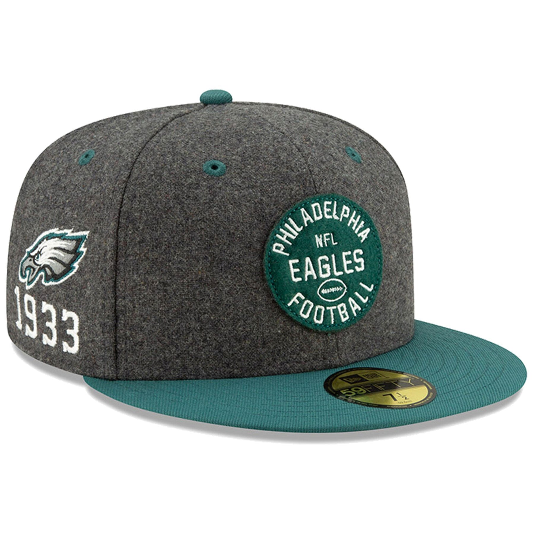a794ae1cf Philadelphia Eagles New Era 2019 NFL Sideline Home Official 59FIFTY 1930s  Heather Charcoal/Green Fitted Hat