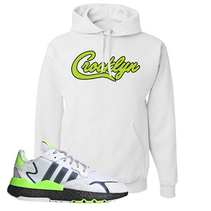 Nite Jogger Signal Green Hoodie | White, Crooklyn