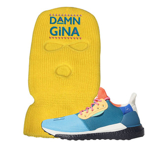 Foot Clan Pharrel Williams X SolarHU Multicolor Damn Gina Yellow Ski Mask  Wear your sneakers in style with this Pharrel Williams X SolarHU Multicolor Sneaker Yellow Ski Mask. The Damn Gina logo on the front of this Pharrel Williams X SolarHU Multicolor Sneaker Yellow Ski Mask is a must-have design for your sneaker matching outfit. Match your kicks today!