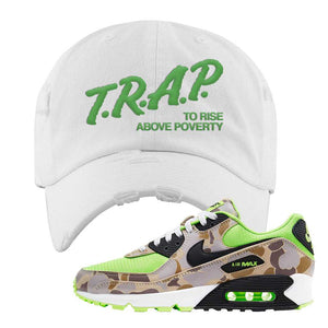Air Max 90 Duck Camo Ghost Green Distressed Dad Hat | White, Trap To Rise Above Poverty