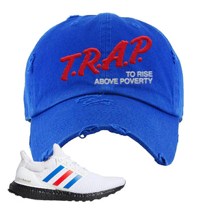 Ultra Boost White Red Blue Distressed Dad Hat | Royal Blue, Trap To Rise Above Poverty