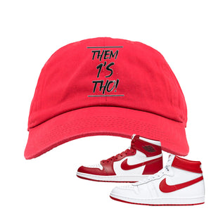 Jordan 1 New Beginnings Pack Sneaker Red Dad Hat | Hat to match Nike Air Jordan 1 New Beginnings Pack Shoes | Them 1's Tho