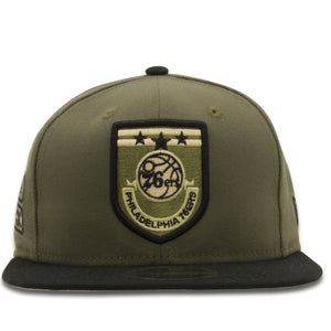 front of 76er military color snapback | Philadelphia 76ers Army inspired military green 950 snapback hat