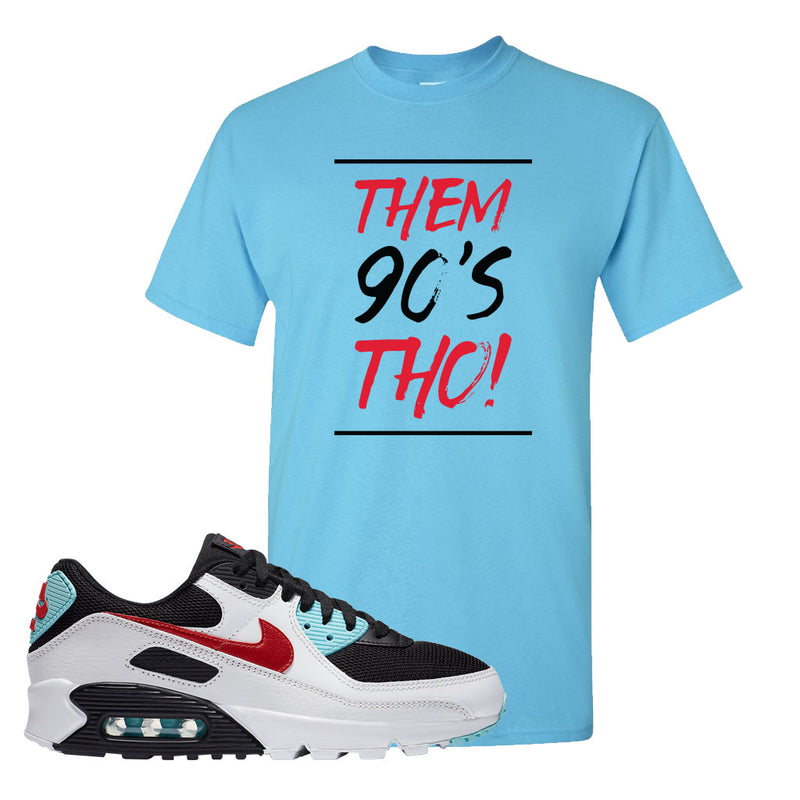Air Max 90 Bleached Aqua and Chile Red T Shirt | Sky, Them 90's Tho