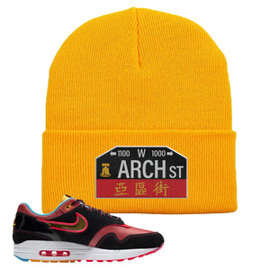 Air Max 1 NYC Chinatown Arch Street Philadelphia Gold Beanie To Match Sneakers