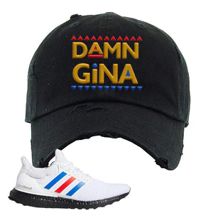 Ultra Boost White Red Blue Distressed Dad Hat | Black, Damn Gina