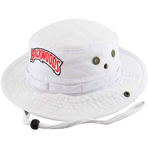 Embroidered on the front of the Russian Cream white Backwoods bucket boonie  hat is the Backwoods a2440e4f7577