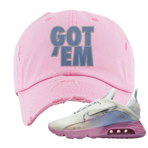 Air Max 2090 Airplane Travel Distressed Dad Hat | Got Em, Light Pink