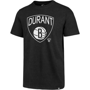 Printed on the front of the Durant Shield Brooklyn Nets t-shirt is the Nets logo with the name Durant in white