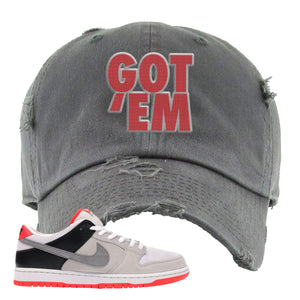 Nike SB Dunk Low Infrared Orange Label Got Em Dark Gray Distressed Dad Hat To Match Sneakers