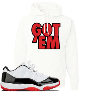 Jordan 11 Low White Black Red Sneaker White Pullover Hoodie | Hoodie to match Nike Air Jordan 11 Low White Black Red Shoes | Got Em