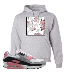 WMNS Air Max 90 Rose Pink Flower Box Ash Pullover Hoodie To Match Sneakers