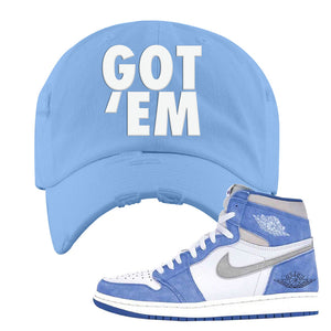 Air Jordan 1 High Hyper Royal Distressed Dad Hat | Got Em, Sky Blue