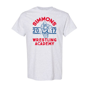 Simmons Wrestling Academy T-Shirt | Ben Simmons Wrestling Academy Ash T-Shirt the front of this shirt has the ben simmons wrestling design on it