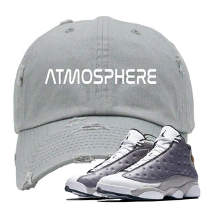 "Jordan 13 Atmosphere Grey ""Atmosphere"" Light Gray Distressed Dad Hat"