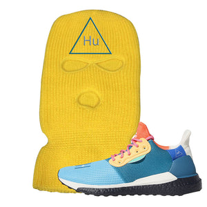 Foot Clan Pharrel Williams X SolarHU Multicolor HU Triangle Yellow Ski Mask  Wear your sneakers in style with this Pharrel Williams X SolarHU Multicolor Sneaker Yellow Ski Mask. The HU Triangle logo on the front of this Pharrel Williams X SolarHU Multicolor Sneaker Yellow Ski Mask is a must-have design for your sneaker matching outfit. Match your kicks today!