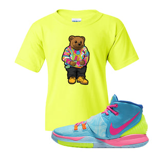 Kyrie 6 Pool Kids T Shirt | Safety Green, Sweater Bear
