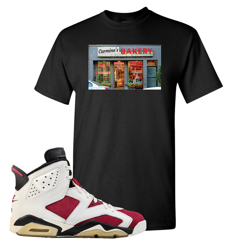 Jordan Jordan 6 Carmine Sneaker Black T Shirt | Tees to match Nike Air Jordan 6 Carmine Shoes | Carmine's Bakery