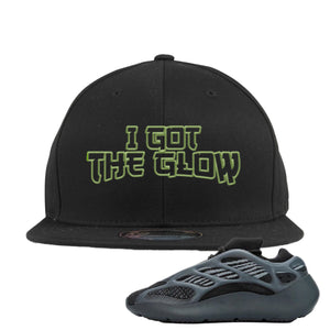 Yeezy Boost 700 V3 Alvah Sneaker Black Snapback Hat | Hat match Adidas Yeezy Boost 700 V3 Alvah Shoes | I Got The Glow