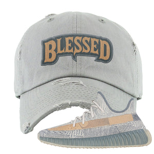 Yeezy Boost 350 V2 Israfil Distressed Dad Hat | Light Gray, Blessed Arch