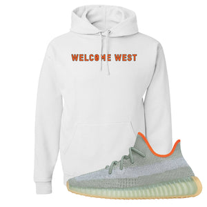 Yeezy 350 V2 Desert Sage Hoodie | White, Welcome West