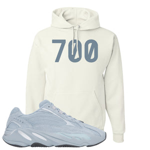 Yeezy Boost 700 V2 Hospital Blue 700 Sneaker Matching White Pullover Hoodie
